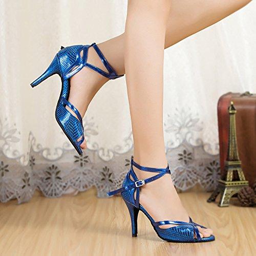 de Latine Bleu Chaussures Go Fond Danse Moderne Womens Danse Chaussures Mou WYMNAME Talons de Moyens 6p7RIwq