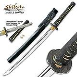 Shikoto Touchstone Handmade Wakizashi/Samurai Sword - Hand Forged Clay Tempered T10 High Carbon Steel - Ray Skin; Iron Tsuba; Certificate of Authenticity - Functional, Full Tang, Battle Ready