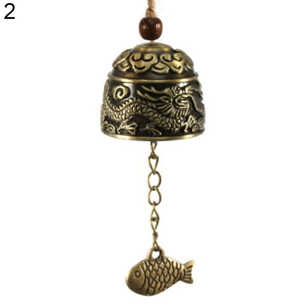 Potato001 Chinese Dragon/Fish Feng Shui Bell Blessing Good Luck Fortune Hanging Wind Chime (1#)