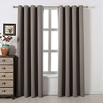 Amazon.com: acelitor Blackout Bedroom Curtains Set 100% Polyester ...