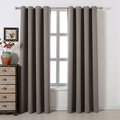 Blackout Bedroom Curtains Set 100% Polyester Grommet Top Room Darkening Panels Thermal Insulating Draperies For Saving Energy Noise Reduction & UV Rays Blocking Light Grey