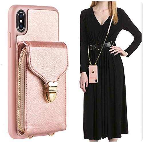 - iPhone Xs Max Wallet Case, JLFCH iPhone Xs Max Case with Credit Card Holder Slot Crossbody Chain Handbag Purse Long Wrist Zipper Strap Case Cover for Apple iPhone Xs Max 6.5 inch - Rose Gold