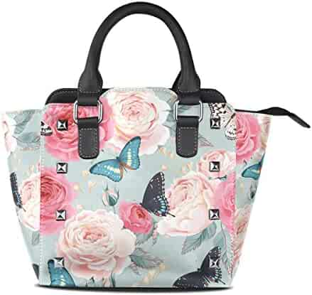 7bbb4e652853 Use4 Women s Retro Peony Rose Flower Butterfly Rivet PU Leather Tote Bag  Shoulder Bag Purse