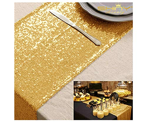 ShinyBeauty 12x72-Inch Rectangle-Gold-Sequin Table Runner- for Wedding/Party/Decor (12x72-Inch)]()