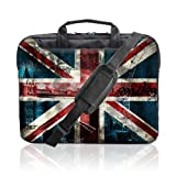 TaylorHe 15.6 inch 15 inch 16 inch Hard Wearing Nylon Laptop Carry Case Colourful Laptop Shoulder Bag with Patterns, Side Pockets Handles and Detachable Strap London Bridge, Union Jack