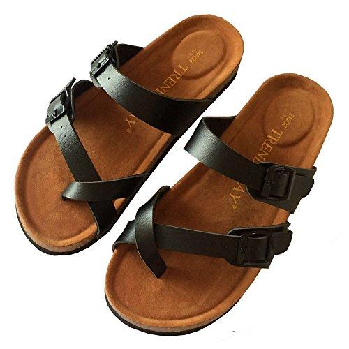 XING GUANG Chaussures Confortables De Plage De Pantoufles De Liège d'orteil De Boucle Double Nouvelles Pantoufles D'intérieur Et Extérieures,White(38) Black(36)