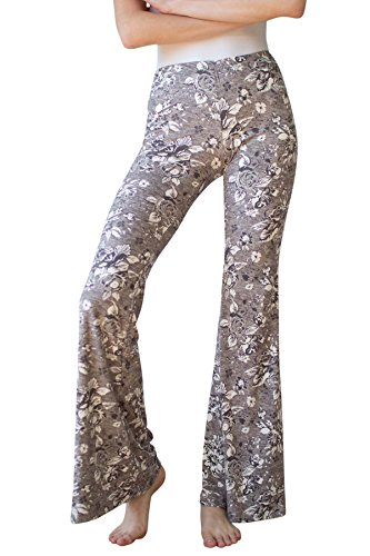 Ragstock Women's Stretch Bell Bottoms (Small, Grey-floral-1913) ()
