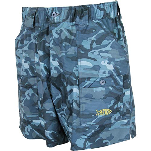 AFTCO ME2 Camo Original Fishing Shorts - Blue Camo - 34