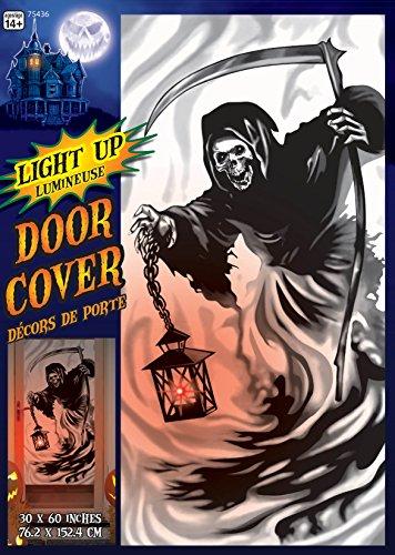 Light Up Grim Reaper Skull Door Cover Poster Halloween Decoration Prop