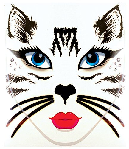 [Face Decal Cat] (Halloween Cat Costume Face Makeup)