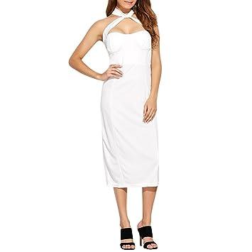 8dd5181bb869 Wenjuan Women s Ladies Summer Strapless Sling Skirt Jumpsuit Off Shoulder  Sleeveless Evening Party Elegant Dress (