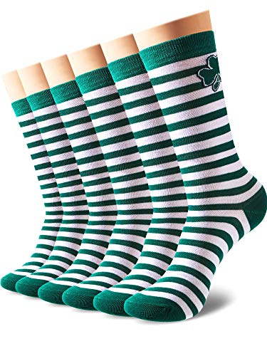 Zhanmai 3 Pairs Irish Shamrock Socks Striped Socks for St. Patrick's Day Supplies (Color 1)