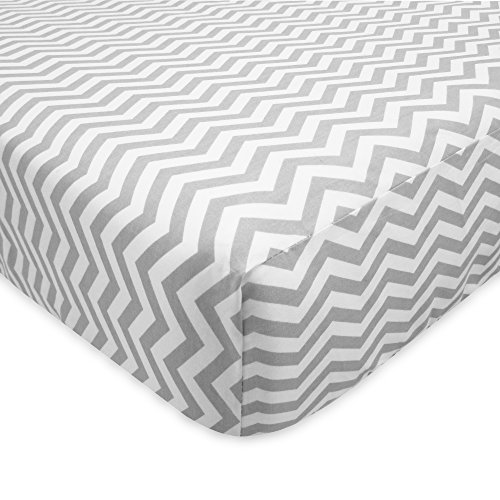 TL Care 100% Cotton Flannel Fitted Crib Sheet, Gray Zigzag