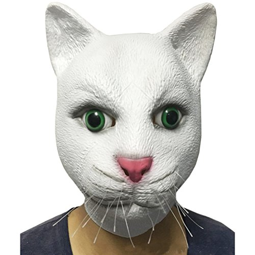 Deluxe Novelty Halloween Costume Party Masquerade Latex Animal White Cat Full Head Mask, Fun Dressing up Costume Mask - Cat Whiskers Halloween