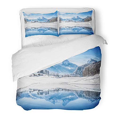 Emvency Decor Duvet Cover Set Twin Size Panoramic View of Beautiful White Winter Wonderland Scenery in The Alps Snowy 3 Piece Brushed Microfiber Fabric Print Bedding Set Cover -