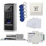 Huella dactilar biométrica y contraseña y puerta de RFID entrada kit de control de acceso + bloqueo eléctrico tornillo + 110-240V fuente de alimentación