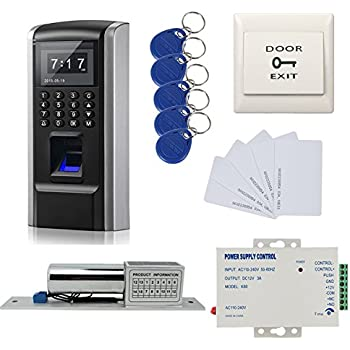 Biometric Fingerprint and Password and RFID Door Entry Access Control Kit + Electric Bolt Lock+110-240V Power supply +Exit button+RFID Keyfods+Cards