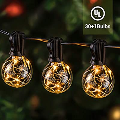 ilikable Outdoor String Lights 38.5FT 30+1Bulbs G40 Led String Lights - Waterproof Bulb Patio String Lights - Globe Christmas Lights for Backyard Bistro Cafe Pergola Tree Party Decoration
