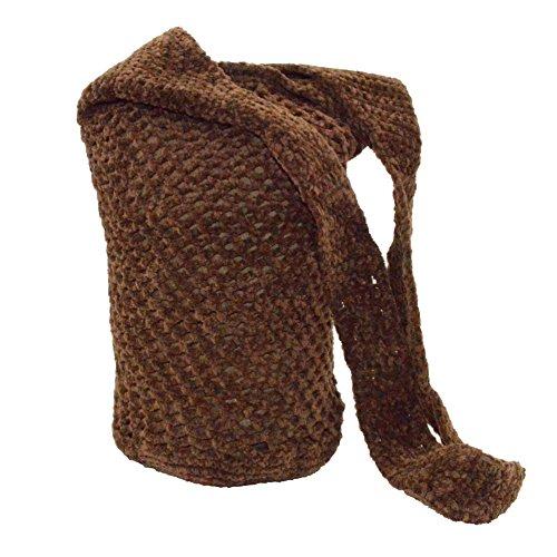 Brown Crocheted Hobo Bag Crossbody Sling , Large Crochet Bohemian Handbag Purse