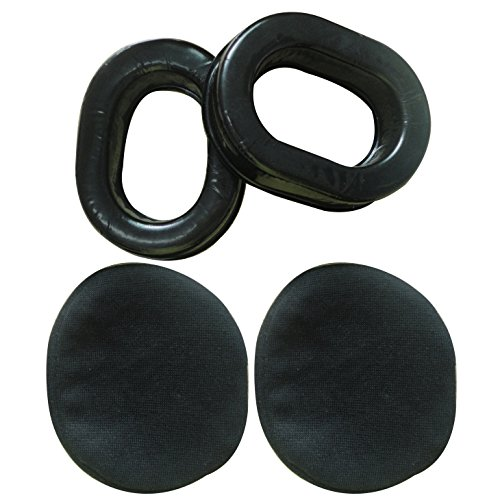 UFQ Comfort Gel Undercut Ear Seals for UFQ David Clark Kore Avcomm Pilot-USA ASA Flightcom Faro Aviation Headsets with Premium Deluxe Velours Cloth Ear Seal ()