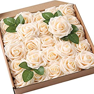 JaosWish 25PCS Real Touch Artificial Roses Fake Flowers with Stem DIY for Wedding Bouquets Baby Shower Party Home Decorations 36