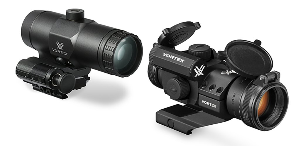 Bundle - 2 items: Vortex Optics StrikeFire 2 Red / Green Dot Sight Scope With Cantilever Mount and VMX-3t Magnifier with Flip To Side Mount for Specific Rifles