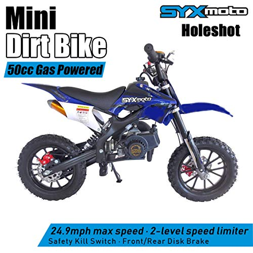 Pit Bike - SYX MOTO Kids Mini Dirt Bike Gas Power 2-Stroke 50cc Motorcycle Holeshot Off Road Motorcycle Holeshot Pit Bike, Fully Automatic Transmission, Blue