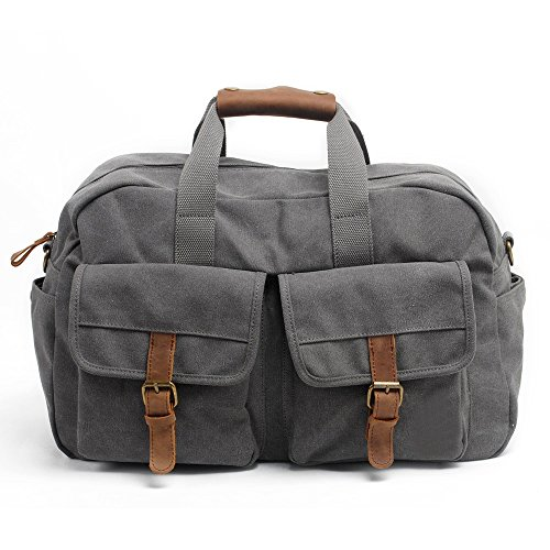 S ZONE Casual Canvas Leather Overnight