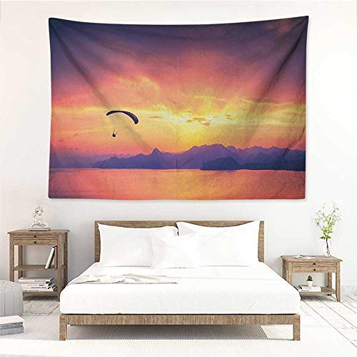 Sports,Wall Decor Tapestry Paragliding Silhouette Over Sea at Sunset with Reflection of Sun Epic Ocean Scenery 84W x 70L Inch Tapestry Wallpaper Home Decor Orange ()