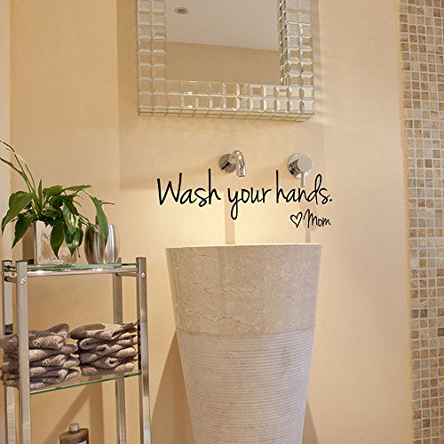 Fenleo Wash Your Hands Wall Stickers Decal Vinyl Art Mural Home Decor 44x14.4CM 3