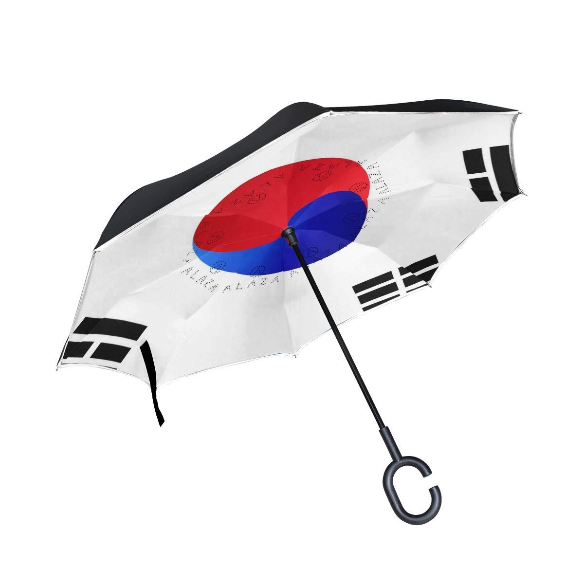 Chinein ダブルレイヤー 反転傘 逆折りたたみ傘 防風 UV保護 車 韓国国旗用   B07GH9FQ37
