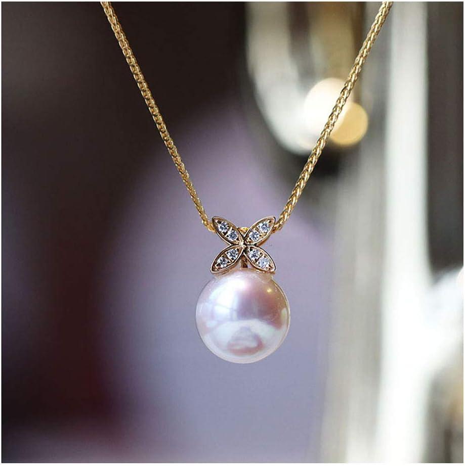 Agua De Mar Cultivada Perla Colgante Oro De 18 Quilates Prima 8.5-9MM Perla Akoya Blanca para Mujeres Regalos De Amistad Joyería