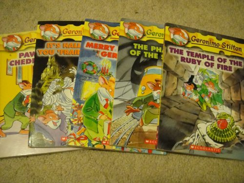 Geronimo Stilton 5 Book Set (Book #6, 11, 12, 13, 14): Paws off, Cheddarface!, It's Halloween, You