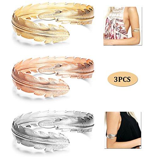 Finrezio 3Pcs Upper Arm Bracelet Cuff Bangle Bracelet Open Armlet Swirl Leaf Armband Jewelry (Gold Tone Swirl)