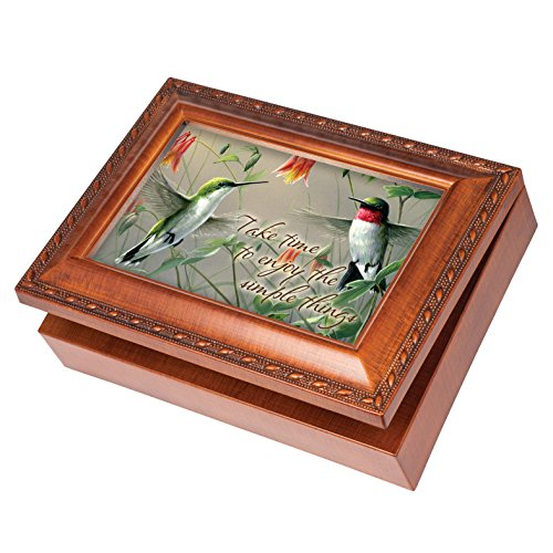(Hummingbirds Simple Things Wood Finish Jewelry Music Box Plays Tune How Great Thou Art)