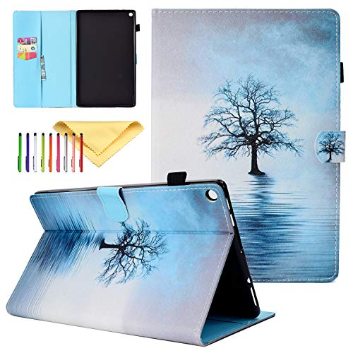 Case for Amazon Kindle Fire HD 10 Tablet (5th/7th Generation, 2015/2017 Release), Cookk Lightweight Stand PU Leather Cover Kids for Kindle Fire HD 10.1