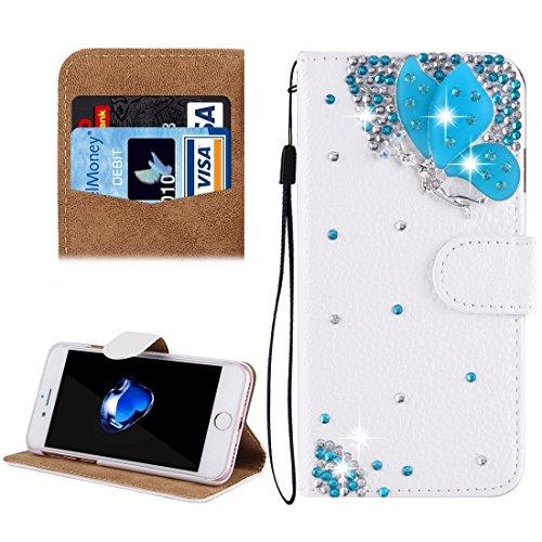 MXNET IPhone 7 Plus Case, Diamond verkrustete drei Schmetterlinge Pattern Horizontale Flip Leder Tasche mit magnetischen Wölbung & Card Slots & Handschlaufe CASE FÜR IPHONE 7 PLUS ( SKU : Ip7p4910k )