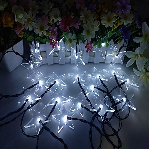 XIYU 16ft 4.8m String Lights Solar for Outdoor Indoor Patio Party Garden Home Wedding Birthday Decor Waterproof 30 LED Colorful Water Drop Light