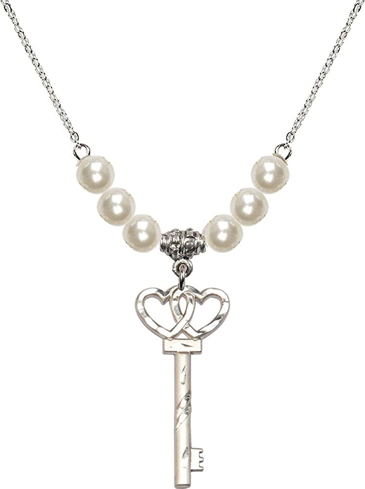 18-Inch Rhodium Plated Necklace with 6mm Faux-Pearl Beads and Sterling Silver Small Key w//Double Hearts Charm.