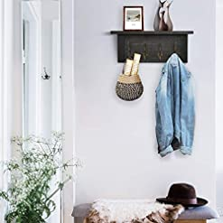 Entryway Rustic Coat Rack Wall Mounted with Shelf, Farmhouse Entryway Shelf with 4 Vintage Metal Hooks, Mounted Solid Wood…