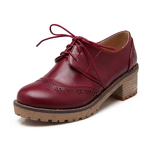 Round Heels Low WeenFashion Pumps Claret Closed Women's Toe PU Shoes Solid Lace up Uww8qzAgn5