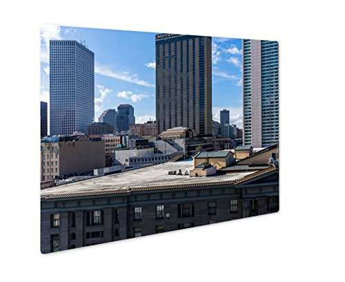 Ashley Giclee Metal Panel Print, Downtown New Orleans Louisiana On Canal Street Aerial, Wall Art Decor, Floating Frame, Ready to Hang 16x20, - Street To Bourbon Canal Street