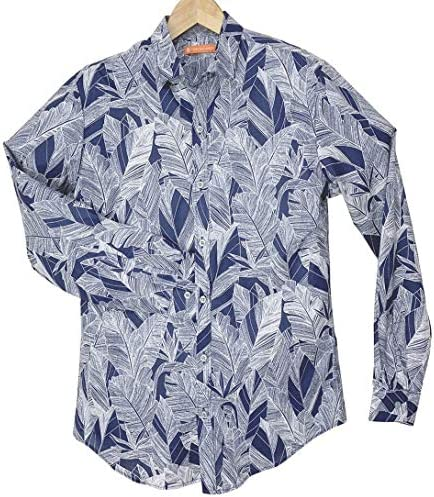 長袖アロハシャツ メンズ 濃紺/葉柄 TORI RICHARD 長袖総柄シャツ トリリチャード