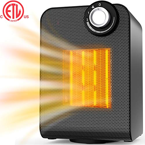 Space Heater, Heaters Indoor Portable, Electric Ceramic Heater, 1500W/750W Safe Oscillating Heater with Adjustable Thermostat, Tip-over & Overheating Protection for Home, Office, Small Room