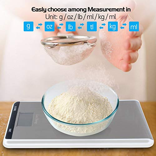 LanSheng,Digital Kitchen Food Scale, One Piece, Stainless Steel (Batteries Included) 1 Pack, 22lbs/10kg, White