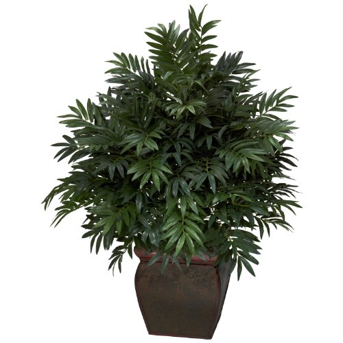 (Nearly Natural 6719 Triple Bamboo Palm with Planter Decorative Silk Plant, Green)