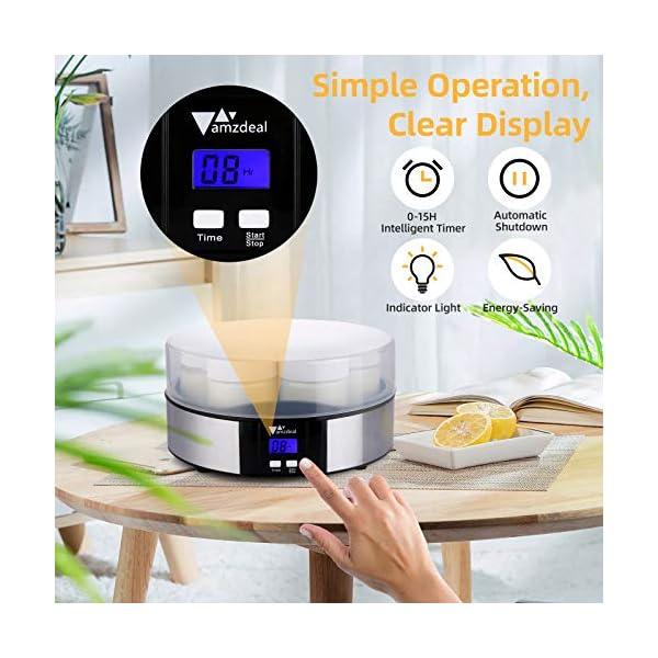 Amzdeal Yogurtiera- Yogurtiera Elettrica con Display LCD e 7 Barattoli di Vetro da 200 ml, Timer di Spegnimento… 5