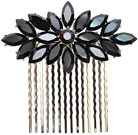 Faship Black Rhinestone Crystal Floral Hair Comb [並行輸入品]