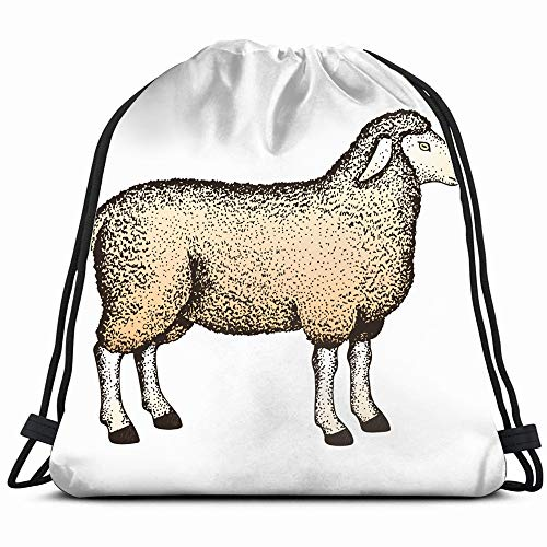 Handdrawn Sheep Idea Book On Animals Wildlife Signs Symbols Drawstring Backpack Gym Dance Bags For Girls Kids Bag Shoulder Travel Bags Birthday Gift For Daughter Children Women (Best Ipad Engraving Ideas)