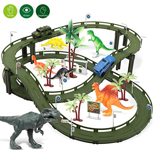 Dinosaur Toys for 3 4 5 6 7 8 Year Old Boy Girl- Race Track Kids Toys,Create a Dinosaur World with 6 Dinosaurs, Police Car & Military Car, Birthday & Christmas Gifts, Cool Box-2019 Toys of The Year